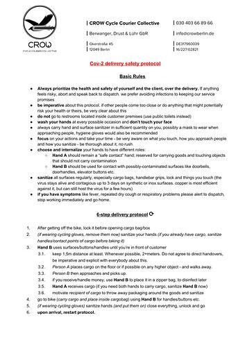 CoV-2 delivery safety protocol